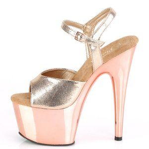 Platform Textured Metallic High Heel Shoes